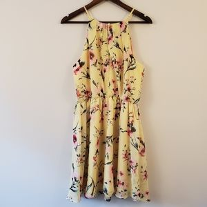 IZ Byer yellow floral print dress women's size XL